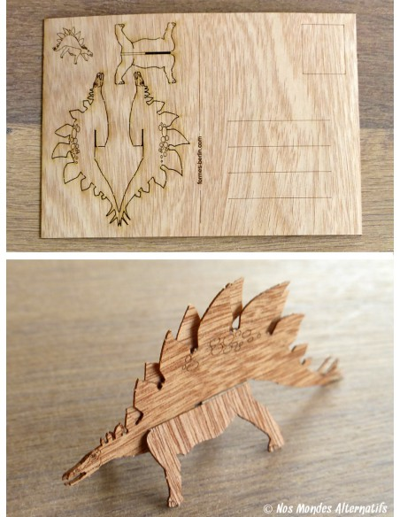 Carte postale en bois Stégosaure