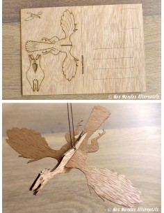 Carte Postale en Bois 3D - Dinosaure Archaeopteryx