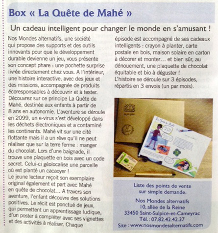 "article dans le journal ""Biocontact"""