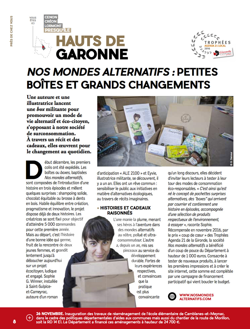 photo de l'article dans le journal Gironde Mag